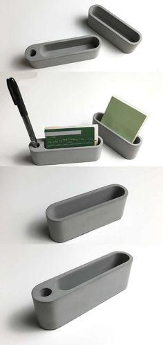 Concrete Business Card Holder Build in Pen Pencil Holder Stand Office Desk Organizer