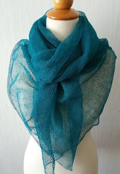 Linen Scarf Knit Shawl  Natural Summer Wrap in Teal Blue Green Women