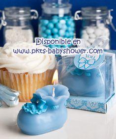 Recuerdos para Baby Shower - Vela Botita Azul - Disponible en www.pkts-babyshower.com