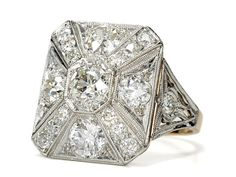 Circa 1860 Art Deco Diamond Ring