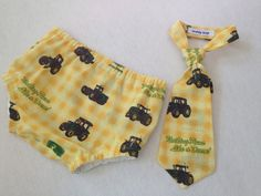 Nothing Runs Like a Deere! 6 mo Baby Boy Diaper Cover and matching Neck Tie  by TeddyBoyStyle