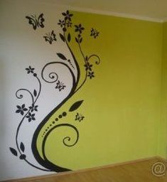 Simple Wall Paintings, Creative Wall Painting, Wall Painting Decor, Mural Wall Art, House Painting, Diy Painting, Wall Decor, Bedroom Wall Designs, Wall Art Designs