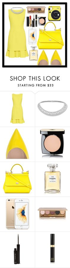 """Yellow-ish OOTD ❤"" by misplacedperfection ❤ liked on Polyvore featuring Oscar de la Renta, Gianvito Rossi, Chanel, Dolce&Gabbana, Jane Iredale, shu uemura, Tom Ford and Fujifilm"