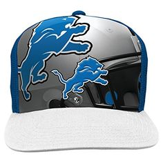 577584e6ff1 NFL Detroit Lions Boys 820 Stealth Flat Brim Hat with Mesh Back Youth One  Size Blue