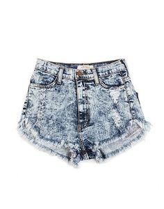 High Rise Acid Washed Shorts