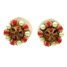 Vintage 1950s Earrings Red White Gold Turks Caps by Revvie1, $6.00