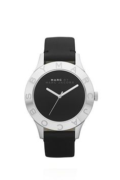 Black Patent Blade 40MM watch with stone index detailing and etched leather strap.