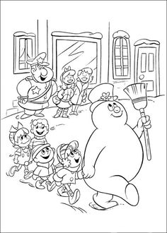 Frosty the Snowman Fargelegging for barn. Tegninger for utskrift og fargelegging nº 15