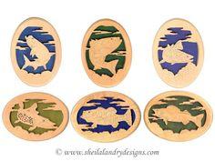 FFSET1 - Set of 6 Freshwater Fish Scroll Saw Patterns (FF201 through FF206)