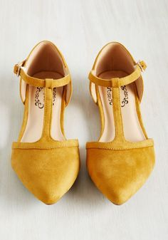 Turn Back Prime Vegan Flat in Marigold. The best way to relive memories of jaunts enjoyed in these yellow flats? #yellow #modcloth