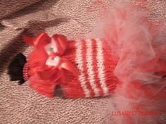 Knitted candy cane tutu