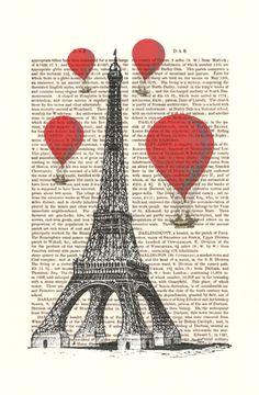 Eiffel Tower and Vintage Hot Air Balloons Print Art Print Digital Illustration Original Painting Paris French Poster Wall Decor Wall Hanging. $12.00, via Etsy.