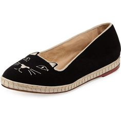 Charlotte Olympia Capri Cats Velvet Slipper (£395) ❤ liked on Polyvore featuring shoes, slippers и black