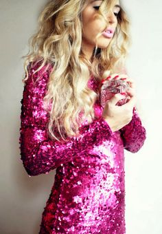 Pink sequins full sleeves shirt with