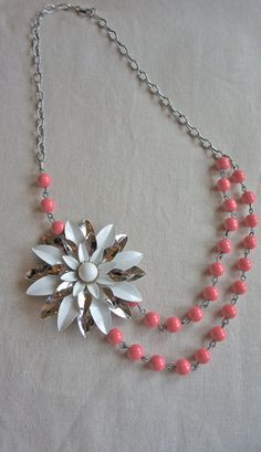 Vintage brooch and gorgeous pink ceramic beaded necklace for summer.