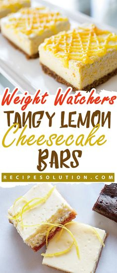 Ingredients Crust: 4 ounces whole-wheat pastry flour (about 1 cup sliced almonds, tablespoons powdered tablespoon canola teaspoon kosher cup cold butter, cut into small piecesCooking spray Filling: cup fat-free Greek cup granulated Lemon Cheesecake Bars, Healthy Cheesecake, Lemon Bars, Ww Desserts, Weight Watchers Desserts, Healthy Desserts, Weight Watchers Cheesecake, Healthy Food, Healthy Cooking