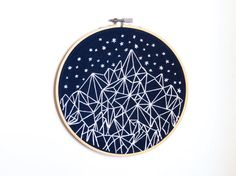 Geometric Starry Night Mountain Embroidery 6 by AlexsEmbroidery