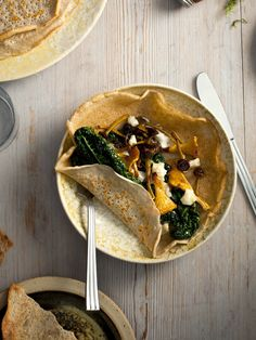 Chanterelles, Buckwheat and Kale by thedesignfiles #Crepes #Chanterelles #Kale