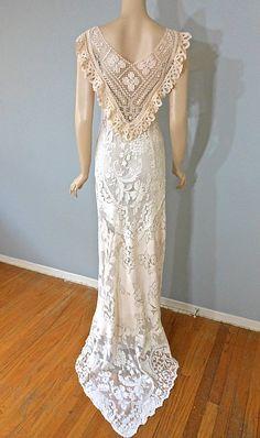 Victorian Boho Wedding Dress Blush Lace Wedding by MuseClothing