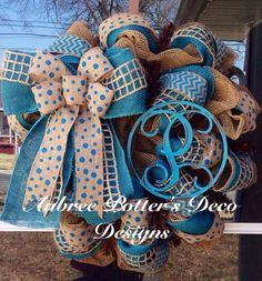 Everyday Burlap Deco Personalized Monogram Wreath With Huge Burlap Bow You Choose Color And Letter on Etsy, $110.00