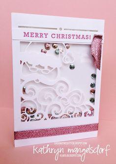 Stampin' Up! Detailed Santa Thinlits Dies Christmas Shaker Card created by Kathryn Mangelsdorf