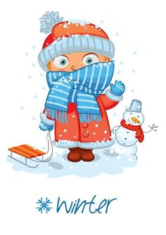 """Photo from album """"Времена года"""" on Yandex. Winter Illustration, Christmas Illustration, Colegio Ideas, Weather Seasons, Cute Clipart, Maria Jose, English Lessons, Months In A Year, Winter Time"""