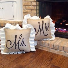 LOVE, burlap ♥ We love the new font that we recently used on these customized pillows for a client! The monogram options are endless! Order yours today by visiting our website! ♥ www.loveburlap.com