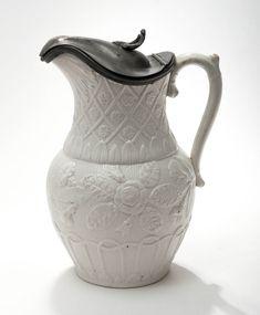 Rare Antique Glazed Drab Ware Portland Vase Cameo Design Buff Pottery Wine Jug