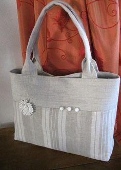 """ref 607.  Bag ticking and old linen"" The details make the bag."
