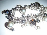 New Listing Started Fabulous Silvertone ring charm bangle stretch great condition silver balls/beads £1.25
