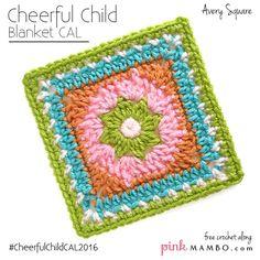 Cheerful Child crochet-a-long:  Avery Square, free crochet pattern by Pink Mambo