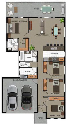 Plano de casa con garaje y 4 dormitorios Floor Plan 4 Bedroom, 4 Bedroom House Plans, Bungalow House Plans, Small House Plans, D House, Sims House, Home Design Floor Plans, House Floor Plans, Building Plans
