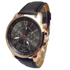 Casual Roman Numeral Geneva Watch for another level of swag. Analog style quartz watch with leather strap. High quality stainless steelis used for the product.   Available payment methods: