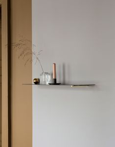 """Danish brand Ferm Living has collaborated with Chinese furniture designer Mario Tsai to create a series of """"flying"""" shelves which seem to be mounted without the use of any fixtures. After meeting. Unique Shelves, Display Shelves, Wall Shelves, Book Shelves, Design Furniture, Furniture Styles, Stockholm Design, Minimalist Scandinavian, Scandinavian Design"""