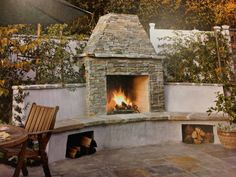 Fireplace for courtyard