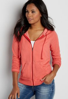 burnwash zip up hoodie (original price, $29.00) available at #Maurices
