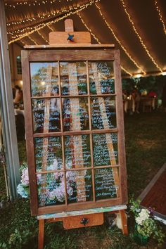vintage wedding on an easel for guests to find their seats