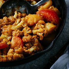 Aloo Gobi- a warming mix of tomato and cauliflower, brought to life with plenty of spice Aloo Gobi, Indian Food Recipes, Ethnic Recipes, Fresh Herbs, Food Inspiration, Curry Food, Spices, Vegetarian, Tasty