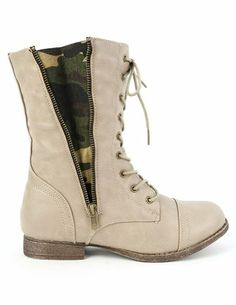 Lace up Zipper Camouflage Insert Combat Womens Military Boots