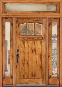 Rustic Knotty Alder Entry Doors With Sidelights Clearance Priced New House