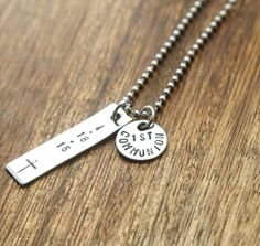 Personalized Boys First Communion Necklace For Boy First Communion Necklace First Communion Gift Communion Gift Cross Religious Necklace
