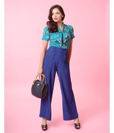 Hell Bunny Retro Style Navy Blue Button Up Bib High Waist Nelly Bly Sailor Slacks