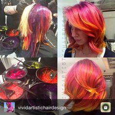 Sunset hair by Sunset Hair, Rainbow Hair, Hair Goals, Hair Makeup, Hair Cuts, Hair Styles, Hair Coloring, Fashion Hair, Inspiration
