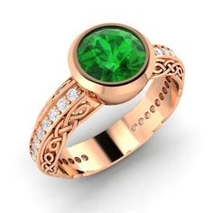 Round Emerald Ring in 14k Rose Gold with VS Diamond