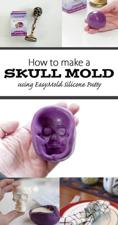 How to Make a DIY Skull Mold - Check out how I made this awesome skull mold using EasyMold silicone putty in just half an hour! It's quick and easy and you can use the mold to make all sorts of Halloween decor! Diy Resin Skull, Diy Resin Mold, Skull Crafts, Skull Mold, Diy Resin Crafts, Resin Molds, Jar Crafts, Resin Art, How To Make Silicone