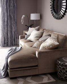 beige sofas coordinating with gray....Celia Couture Sectional Sofa