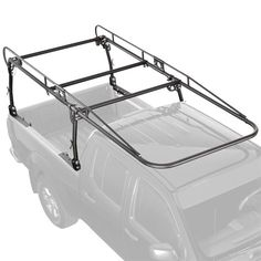Front view of universal truck rack installed to Nissan Frontier