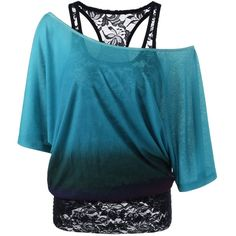 Cold Shoulder Lace Ombre Top ($22) ❤ liked on Polyvore featuring tops, shirts, open shoulder tops, cut out shoulder top, blue cold shoulder top, ombre top and lacy tops