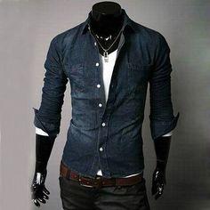 Mens Jean Shirt New Slim Fit Casual Sexy Shirt Long Cotton Shirt NEW  N02