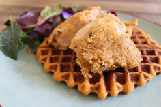 Paleo Fried Chicken and Sweet Potato Waffles...whats with the pickle juice, egg, honey, arrowroot powder, etc., just go old school and flower the chicken in almond flour.